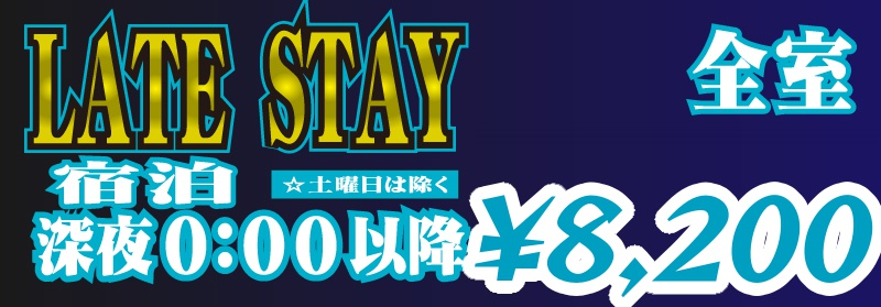 LATE STAY 深夜0時以降のご宿泊は全室7,800円!